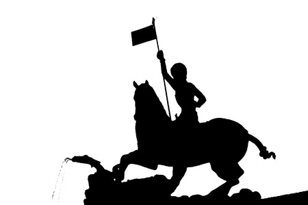 Silhouette of the Saint Georges Statue in Prague with white background photo