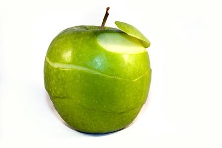 granny smith apple: Peeled Granny Smith apple