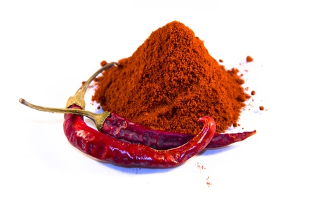 Magyar  Hungarian  paprika - dried peppers and powder Stock Photo - 18650058