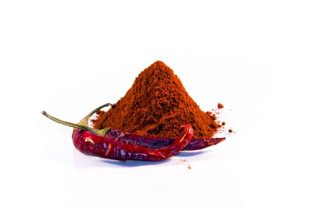 Magyar  Hungarian  paprika - dried peppers and powder Stock Photo - 18650055