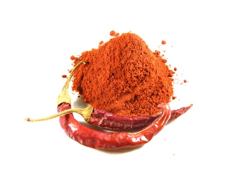 Magyar  Hungarian  paprika - dried peppers and powder Stock Photo - 18650076