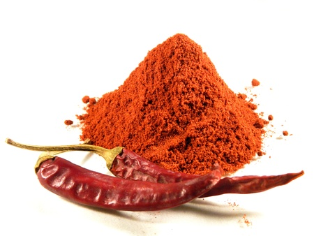 Magyar  Hungarian  paprika - dried peppers and powder Stock Photo - 18649447