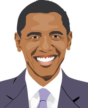 obama: Barack Obama is smiling - drawing
