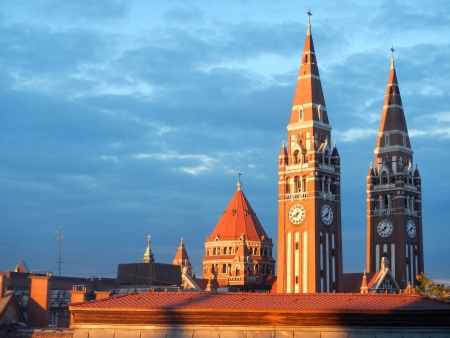 Two towers of Dom  Cathedral  of Szeged Stock Photo