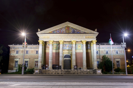 The Museum of Fine Arts in Budapest city at night Editorial
