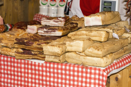 szeged: SZEGED, HUNGARY - NOVEMBER 8. 2014 - Bacons in a food market in Mangalitsa Festival in Szeged