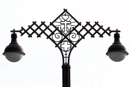 szeged: Christian iron lamp post in Szeged Stock Photo