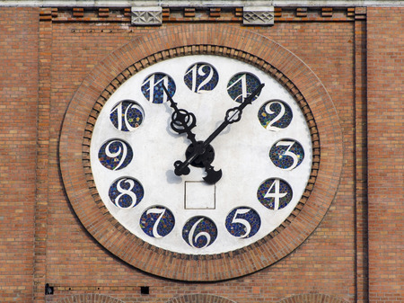 szeged: Clock on tower of the Cathedral of Szeged Stock Photo