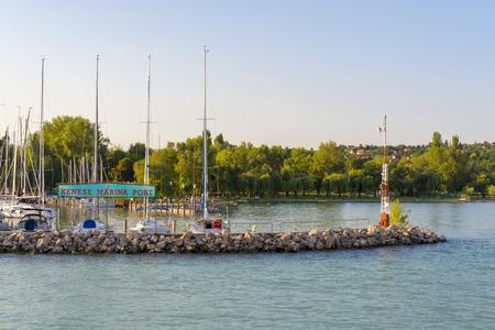 balaton: BALATONKENESE, HUNGARY - JULY 24. 2014 - Kenese Marina ship port in North Balaton at Balatonkenese Editorial