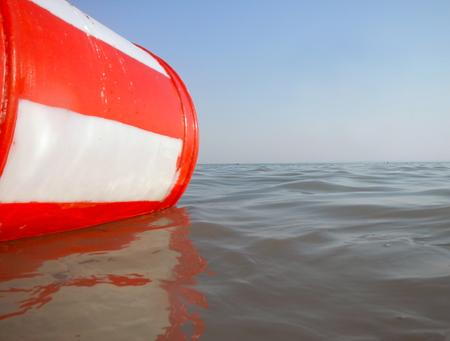 balaton: Swimming red buoy in the Lake Balaton, Hungary