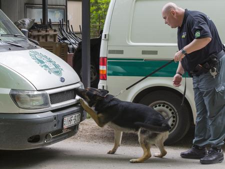 d�tection: Szeged, Hongrie - 26 avril 2015 - agent de l'accise (NAV) est titulaire d'un presendation avec un chien d�tecteur de drogue dans le �Jour de la Terre '�v�nement � Szeged Zoo. Editeur