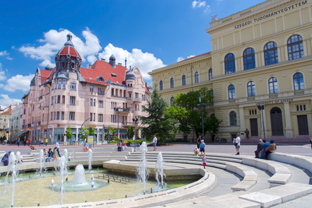 szeged: SZEGED HUNGARY  JUNE 21. 2015  Fountain in Dugonics Square in the city of Szeged Editorial