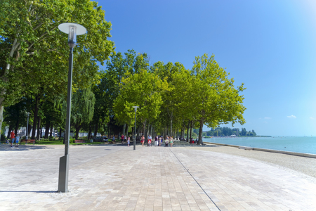 tagore: BALATONFURED, HUNGARY - AUGUST 4. 2015 - Tagore Promenade in Balatonfured, at the Lake Balaton, Hungary