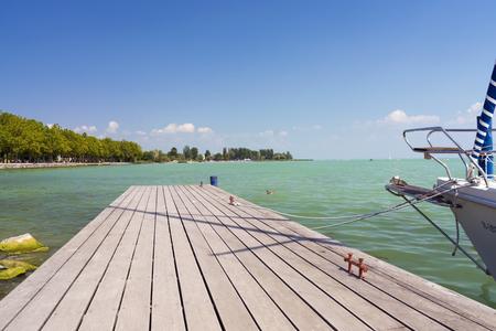 sailer: Dock at harbor of Balatonfured, Lake Balaton