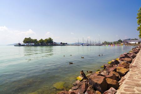Beach at Tagore Promenad in Balatonfured, Hungary Zdjęcie Seryjne