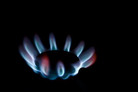 stove fire: Blue gas stove fire in the darks