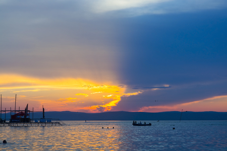 Sunset over Lake Balaton at the Golden Beach of Siofok, Hungary