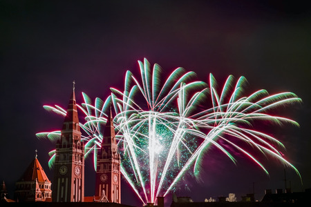 Fireworks at the Dom (Votive Church) of Szeged Stock Photo