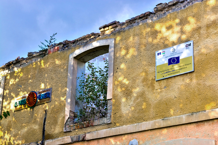 szeged: SZEGED, HUNGARY - OCTOBER 05. 2016 - Amaro Kher cultural community house and information center for Roma people was built from EU support in 2005.  Now it is a symbol of effectiveness of Roma policy in Hungary Stock Photo