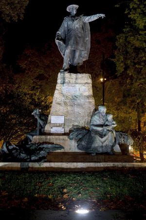 pal: Vasarhelyi Pal Statue at Night in Szeged, Hungary Stock Photo