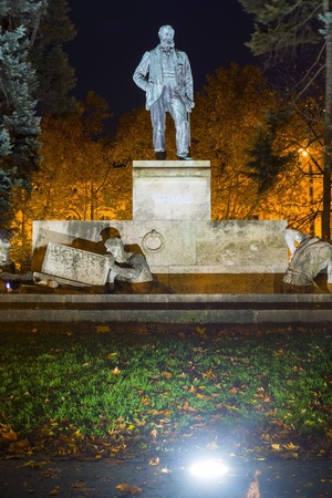 Tisza Lajos Statue at Night in Szeged, Hungary Stock Photo