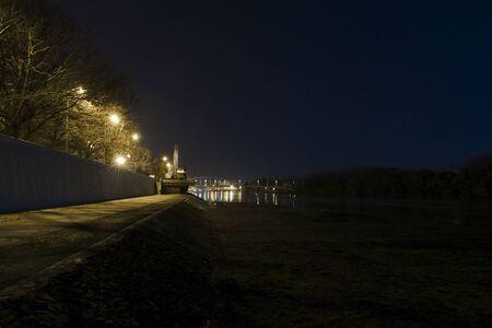 szeged: Night view the Tisza river at Szeged, Hungary