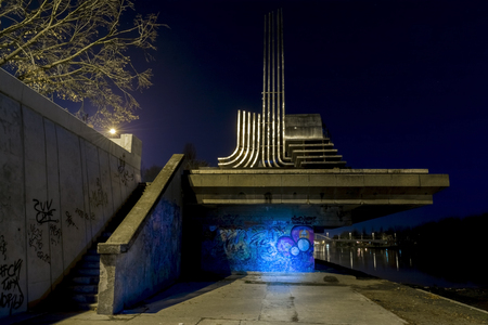 szeged: Night view of the Monument of Big Flood in Szeged, Hungary