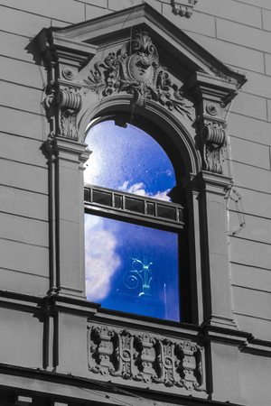 szeged: Window of the National Theatre in Szeged, Hungary Stock Photo