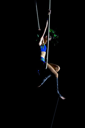 Aerialist woman at circus