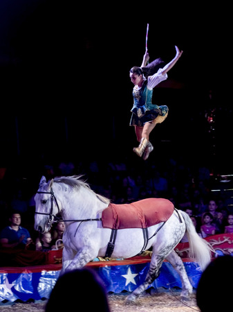 SZEGED, HUNGARY - JUNE 12. 2016 - horse riding performance of the Hungarian National Circus by the Richter Group