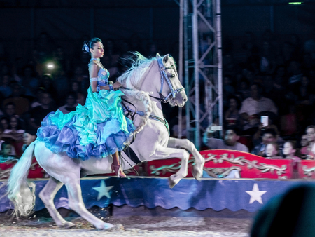 SZEGED, HUNGARY - JUNE 12. 2016 - horse riding performance of Hungarian National Circus (Richter) Editorial