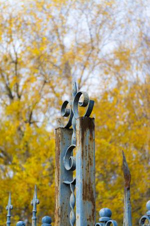 Rusty fence of an old garden in Autumn in Balatonkenese Stock Photo