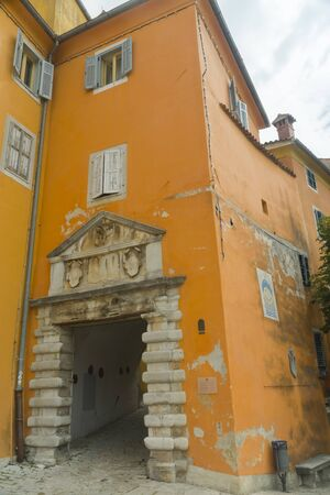 Gateway to the old city of Labin in Istria, in Croatia Imagens