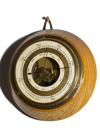 Old fashioned analog barometer on the wall Archivio Fotografico