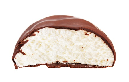 Zephyr covered with chocolate on white background