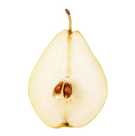 pear cut in half isolated on white