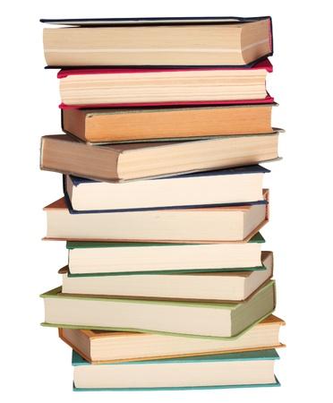 writing book: Pila di libri isolato su bianco Archivio Fotografico