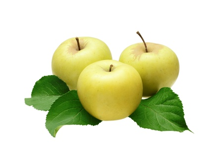 Three apples with leaves isolated on white Stock Photo