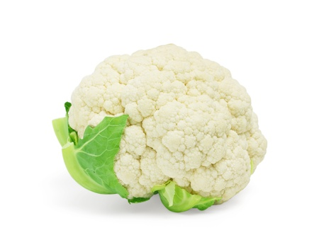 cauliflower with leaves on white Stock Photo