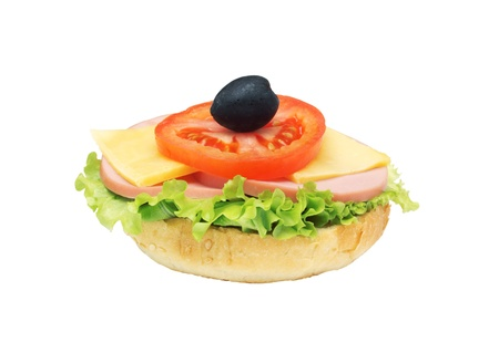 burger with lettuce, cheese, tomato and olive isolated on white