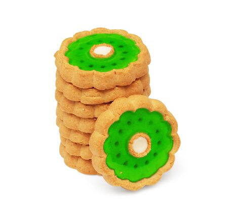stack of cookies on white