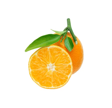 tangerines with leaves isolated on white