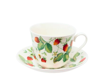 Cup on a saucer isolated on white