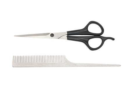comb and scissors isolated on white Stock Photo - 11698942