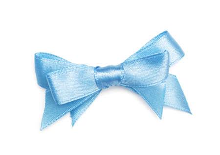 blue ribbon bow on white Stock Photo