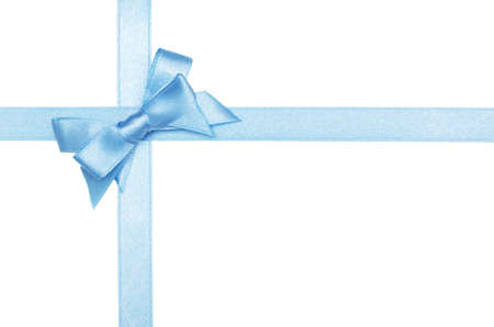 blue satin ribbon and bow isolated on white Stock Photo