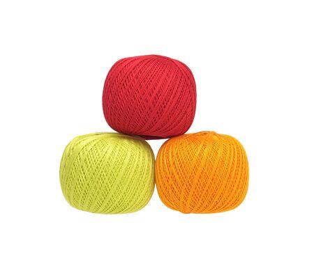 three balls of cotton  yarn isolated on white  Stock Photo