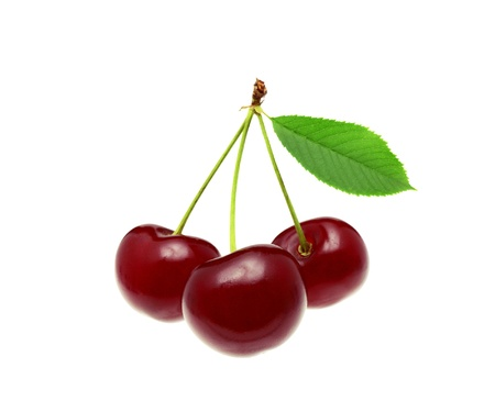 Cherries whith leaf isolated on white Фото со стока