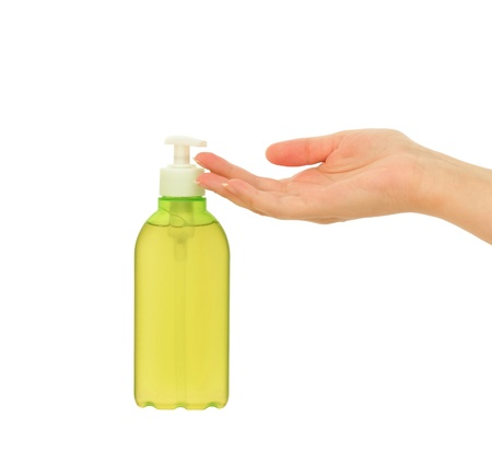 liquid soap and womans hand Isolated on white
