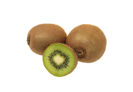 two kiwi fruits and half  isolated on on white